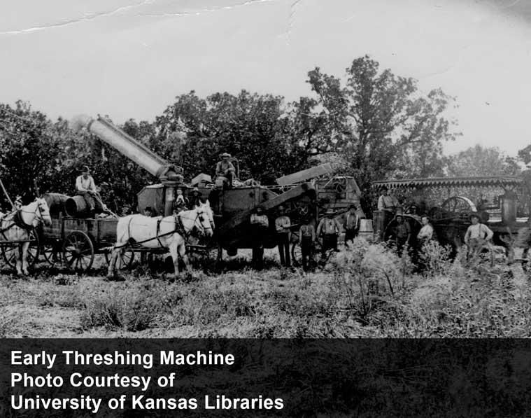 Early Threshing Machine - photo courtesy of University of Kansas Libraries